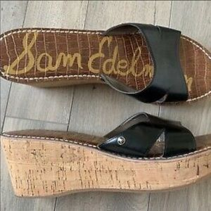 Sam Edelman Reid Black leather cord wedge size 7.5